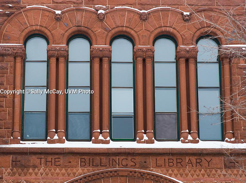 Billings Libray details. UVM Winter Campus