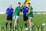 Killian Young Kerry Captain and Limerick Captain Iain Corbett with ref Alan Kissane Kerry v   Limerick in the Final of the McGrath Cup at the Gaelic Grounds on Sunday.