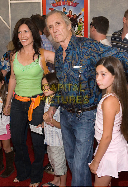 DAVID CARRADINE & FAMILY.Walt Disney Pictures' World Premiere of 'Sky High' held at the El Capitan Theatre, Hollywood, California.  .July 24th, 2005.Photo Credit: Zach Lipp/AdMedia.half length jeans denim pattern print holding hands.www.capitalpictures.com.sales@capitalpictures.com.© Capital Pictures.