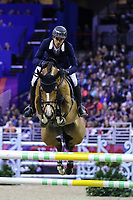 OMAHA, NEBRASKA - APR 2: Steve Guerdat rides Bianca during the Longines FEI World Cup Jumping Final at the CenturyLink Center on April 2, 2017 in Omaha, Nebraska. (Photo by Taylor Pence/Eclipse Sportswire/Getty Images)