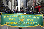 March 16, 2013 - New York, NY, U.S. - Port Authority Police Emerald Society gets ready to march in the 252nd annual NYC St. Patrick's Day Parade. Thousands of marchers show their Irish pride, as they march up Fifth Avenue, and over a million people, often in green and orange, watch and celebrate. Those marching, many who wore kilts, uniforms, colorful costumes, sashes, included Bag and Pipe Bands; Irish dancers; fire, police, military, religious, educational, and social groups.