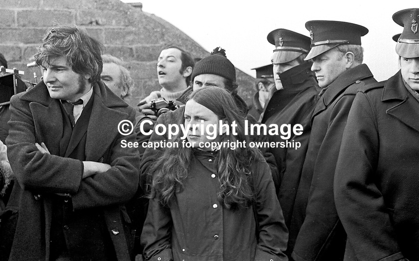 Northern Ireland Civil Rights March near Magilligan Prison, Co Londonderry, Saturday, 11th March 1972. Stand-off between the organisers, Kevin Boyle, civil rights activist, and Bernadette Devlin, MP, and the police line which brough the protest to a halt. 197203110110d.<br />