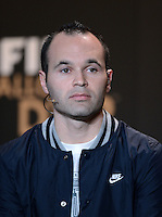 Fussball International  FIFA Ballon d Or / Weltfussballer 2012   PK   07.01.2013 Andres Iniesta (Spanien)