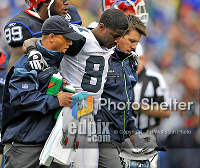 7 September 2008:  Seattle Seahawks' wide receiver Nate Burleson (81) is shaken up and tended to during a game against the Buffalo Bills at Ralph Wilson Stadium in Orchard Park, NY. The Bills defeated the Seahawks 34-10 in the season opening game...Mandatory Photo Credit: Ed Wolfstein Photo