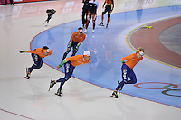 SCHAATSEN: SALT LAKE CITY: Utah Olympic Oval, 14-11-2013, Essent ISU World Cup, training, Mark Tuitert (NED), Michel Mulder (NED), Sjoerd de Vries (NED), ©foto Martin de Jong