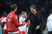 FUSSBALL   1. BUNDESLIGA   SAISON 2012/2013   4. SPIELTAG SV Werder Bremen - VfB Stuttgart                         23.09.2012        Manager Fredi Bobic (re) scheint nach dem Abpfiff zufriedener als Martin Harnik (li, beide VfB Stuttgart)
