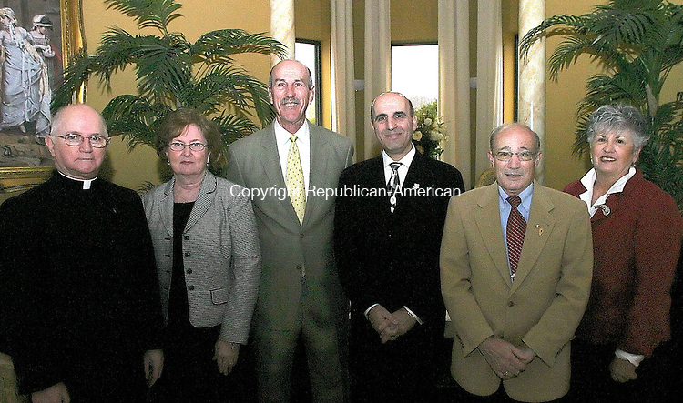 WATERBURY, CT - 15 APRIL 2008 - 040608JW04.jpg -- Rev. John J Bevins, Sue Monahan, Ron Diorio, Selim Noujaim R-74, Bill Summa and Debbbie Cronin pose for a photo during the 120th Anniversery of Saint Mary School Gala Grand Reunion and Bells of Saint Mary Awards Sunday afternoon at the Villa Rosa. Diorio received the Rev. John J Bevins Guardian Angel award, and Summa received the Rev. John P. Blanchfield Community Service Award. Jonathan Wilcox Republican-American