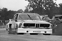 Sam Posey drives his BMW 3.0 CSL in a rainstorm during the IMSA Camel GT race at the Mid-Ohio Sports Car Course near Lexington, Ohio, on June 1, 1975. (Photo by Bob Harmeyer)