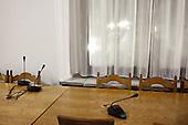 WARSAW, POLAND, December 21, 2016<br /> Unused microphones in Sejm, during Parliamentary crisis. Members of parliament from opposition parties PO (Civic Platform) and Nowoczesna (Modern) are occupying the plenary hall of the Sejm (Polish parliament), since 16-th december. On the right - Grzegorz Schetyna, head of PO.<br /> The opposition objects to government plans to drastically limit the number of journalists allowed to cover parliamentary proceedings. The opposition MPs' protest delayed a budget 2017 vote, which was later held away from the main parliament chamber and is now considered unlawful, which sparks further protest.<br /> (Photo by Piotr Malecki / Napo Images)<br /> ****<br /> WARSZAWA, 21.12.2016. <br /> Kryzys sejmowy. Poslowie opozycji z partii PO i Nowoczesna pozostaja w sali planarnej Sejmu,  nie opuszczajac jej od szesciu dni i planuja pozostanie do nastepnego posiedzenia 11 stycznia. Jest to dzialanie w obronie wolnosci mediow i przeciwko uchwaleniu budzetu przez partie rzadzaca w innej sali, bez obecnosci poslow opozycji. <br /> Fot. Piotr Malecki / Napo Images<br /> <br /> ###ZDJECIE MOZE BYC UZYTE W KONTEKSCIE NIEOBRAZAJACYM OSOB PRZEDSTAWIONYCH NA FOTOGRAFII### ### Cena zdjecia w/g cennika FORUM plus 50% (cena minimalna 100 PLN)