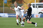05 November 2008: Boston College's Amy Caldwell (7) and Duke's Gretchen Miller (4). Boston College defeated Duke University 1-0 at Koka Booth Stadium at WakeMed Soccer Park in Cary, NC in a women's ACC tournament quarterfinal game.