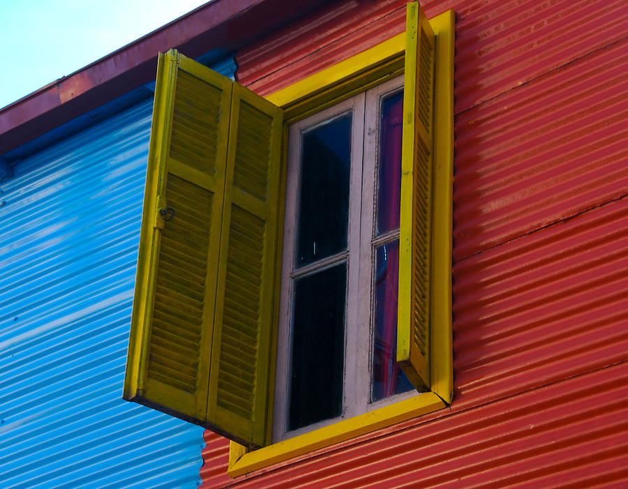 Deatil of Typical window on Caminito Street, Caminito is a tourist attraction in Buenos Aires.