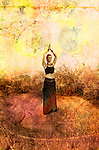 Woman in goddess pose. Photo based illustration.