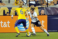 Kelly O'Hara #19, Sara Thunebro...USWNT tied Sweden 1-1 at Morrison Stadium, Omaha Nebraska.
