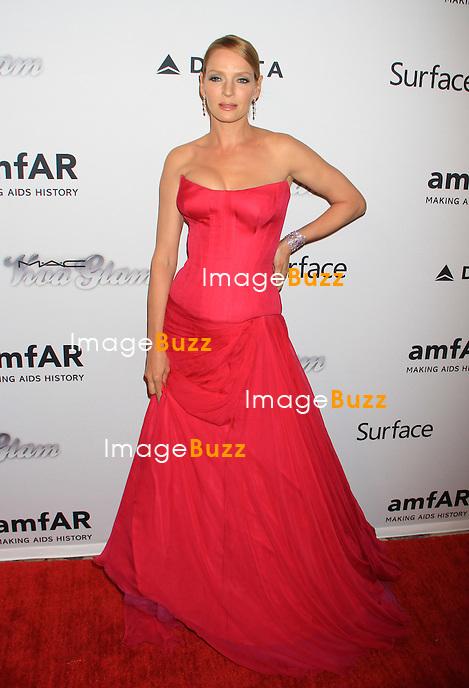 Uma Thurman attends the 4th Annual amfAR Inspiration Gala. New York, June 14, 2013.