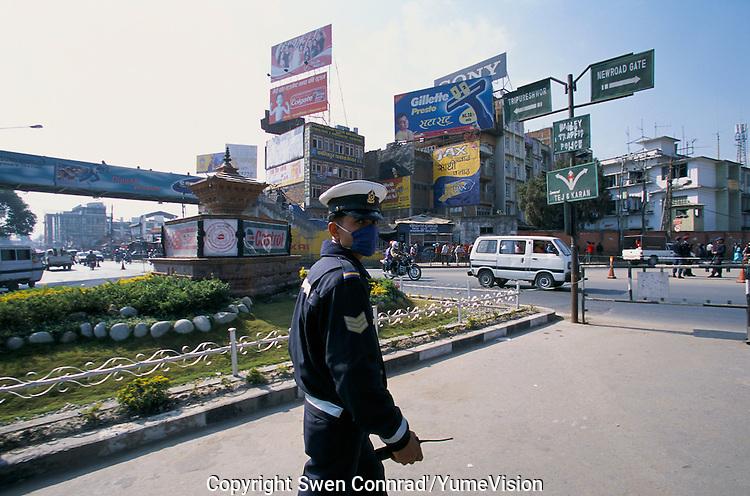 Heavy pollution at the Kantipath cross road in Kathmandu City, Nepal