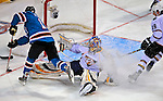 24 January 2009: Nashville Predators rookie goaltender Pekka Rinne gives up a goal to San Jose Sharks right wing forward Devin Setoguchi during the NHL YoungStars Game where the Rookies defeated the Sophomores 9-5 in the NHL SuperSkills Competition, part of the All-Star Weekend at the Bell Centre in Montreal, Quebec, Canada. ***** Editorial Sales Only ***** Mandatory Photo Credit: Ed Wolfstein Photo