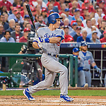 7 October 2016: Los Angeles Dodgers infielder Chase Utley in action during Game 1 of the NLDS against the Washington Nationals at Nationals Park in Washington, DC. The Dodgers edged out the Nationals 4-3 to take the opening game of their best-of-five series. Mandatory Credit: Ed Wolfstein Photo *** RAW (NEF) Image File Available ***