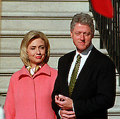 United States President Bill Clinton and first lady Hillary Rodham Clinton prepare to greet President Jiang Zemin of China who will arrive for a State Visit to the White House in Washington, D.C. on October 29, 1997..Credit: Ron Sachs / CNP