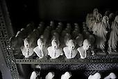 Czestochowa, Poland, April 1, 2011:.The pope John Paul 2 clay heads at the drying cabinet of BAMGIPS company making clay figures of the saints..(Photo by Piotr Malecki / Napo Images)..Czestochowa, 1/04/2011:.Popiersia papieza Jana Pawla I w firmie Bamgips, produkujacej gipsowe figury swietych.Fot: Piotr Malecki / Napo Images