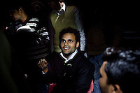 Minister of Legislative Assembly, Ritesh Pandey, 30, meets with a crowd in his constituency as he campaigns late into the night in Suhururpur Village, Ambedkar Nagar, Uttar Pradesh, India, on 20th January, 2012. Returning 1.5 years ago after almost 10 years abroad, Pandey is contesting on behalf of the Bahujan Samaj Party (BSP), a party that is based on its appeal to Dalit (the lowest Hindu caste) voters. Party leader, Mayawati herself is a Dalit but has recently been giving out more tickets to muslims and high caste candidates in an attempt to woo a larger spectrum of voters. Photo by Suzanne Lee for The National (online byline: Photo by Szu for The National)