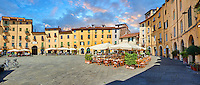 Interior of Piazza dell'Anfiteatro inside the ancinet Roman ampitheatre of Lucca, Tunscany, Italy