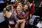 21 APR 2012:  Ashley Priess celebrates with teammates during the Division I Women's Gymnastics Championship held at the Gwinnett Center Arena in Duluth, GA. Alabama placed first with a team score of 197.850. Joshua Duplechian/NCAA Photos