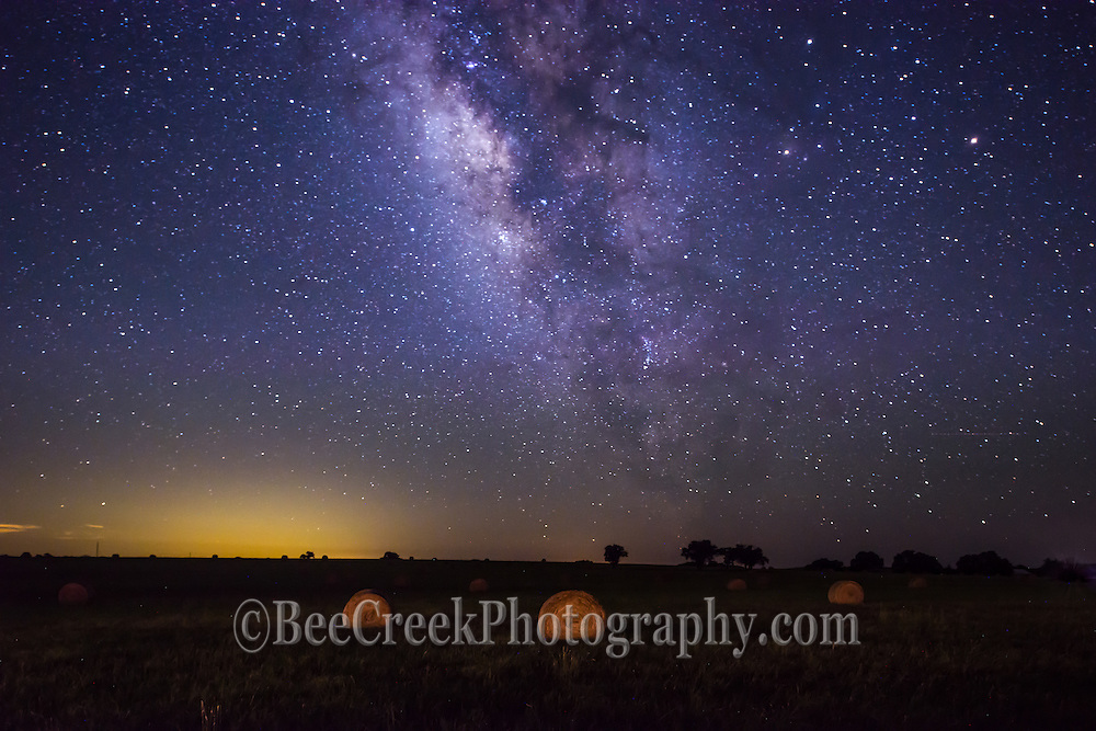 Another capture of the milyway with the hay bales only a hint of light illuminated them in this dark skies landscape in the Texas hill country.  The stars were really out so it was a good night.