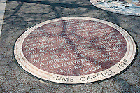 A mosaic embedded into the surface of Passarelle Plaza in Flushing Meadows Park in Queens in New York commemorates the 1939 Time Capsule that was lowered during the World's Fair held in the park in 1939-40, seen on Sunday, March 18, 2012. The Time Capsule is scheduled to be opened in the year 6839.  (© Richard B. Levine)