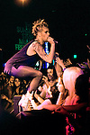 Justin Tranter of Semi Precious Weapons performing at the Roxy Theatre during the Sunset Strip Music Festival in Los Angeles, California, August 20, 2011.