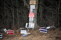 Republican presidential candidates' signs stand among brush in Manchester, New Hampshire.