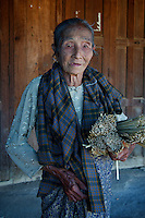 A very old women, check on the arms, Phaungdawoo Village on Inle lake, Shan State, Myanmar/Burma