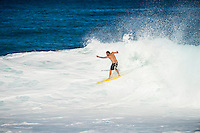 Backdoor Pipeline OffThe Wall, North Shore of Oahu, Hawaii Monday December 8 2014) Tom Curren (USA) riding without a leash.  - The surf was in the 4'-6' range at Pipeline and Backdoor today with a  dropping NNW swell and light  winds. A new more NW swell was slowing building during the day. Photo: joliphotos.com