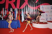 (L-R) Nataliya Balycheva (silver), Anna Trubnikova (gold) of Russia and Viktoriya Shynkarenko of Ukraine (bronze) are junior winners at 2010 Grand Prix Marbella at San Pedro Al Cantara, Spain on May 14, 2010.  (Photo by Tom Theobald).