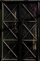 Plant History Glasshouse (formerly Australian Glasshouse), 1830s, Rohault de Fleury, Jardin des Plantes, Museum National d'Histoire Naturelle, Paris, France. Detail of glass and metal decorative door into the Plant History Glasshouse, seen from the passageway from the Incubators.
