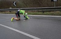 Sep Vanmarcke (BEL/Cannondale-Drapac) crashed<br /> <br /> 11th Strade Bianche 2017