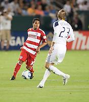 CARSON, CA – NOVEMBER 14: FC Dallas David Ferreira (10) and LA Galaxy midfielder David Beckham (23) during the Western Conference Final soccer match at the Home Depot Center, November 14, 2010 in Carson, California. Final score LA Galaxy 0, Dallas FC 3.