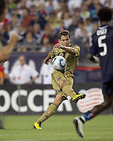 Philadelphia Union midfielder Stefani Miglioranzi (6) shoots. The Philadelphia Union defeated New England Revolution, 2-1, at Gillette Stadium on August 28, 2010.
