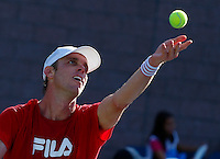 NEW YORK, NY AUG 27: American tennis player Sam Querrey plays at the new Grandstand stadium during a day of practice at the USTA Billie Jean King National Tennis Center in Flushing Meadows, on August 27, 2016 in New York City. (Photo by VIEWpress)