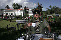 The commander of Norwegian ISAF troops in Battle Group 3, Jan Helge Dale, is offered tea as he inspects a guesthouse in central Kabul.  ISAF, the International Security Assistance Force, is a peacekeeping mission affiliated to the United Nations (UN) and NATO.