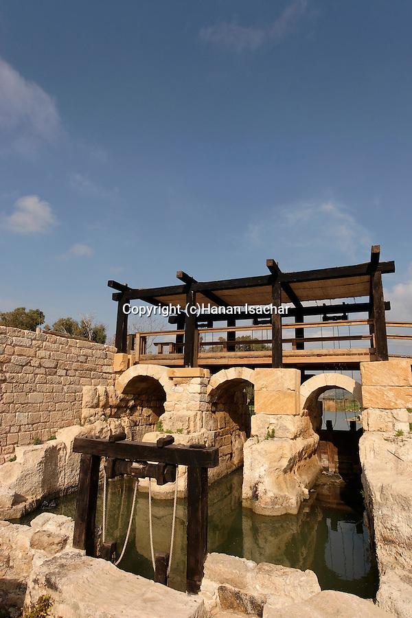 Israel, Carmel Coast Plain. The Roman dam at Taninim stream nature reserve