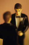 Non-traditional marriage ceremony with gay white men figurines on a wedding cake wearing tuxedos with sunset light.
