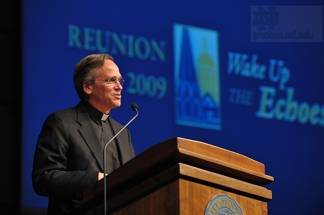 Rev. John Jenkins, C.S.C. speaks at Reunion 2009...Photo by Matt Cashore/University of Notre Dame