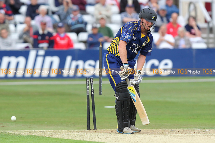 Ben Stokes of Durham is bowled out by Reece Topley - Essex Eagles vs Durham Dynamos - Yorkshire Bank YB40 Cricket at the Essex County Ground, Chelmsford - 13/08/13 - MANDATORY CREDIT: Gavin Ellis/TGSPHOTO - Self billing applies where appropriate - 0845 094 6026 - contact@tgsphoto.co.uk - NO UNPAID USE