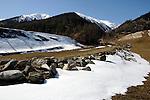 Trail through the alps - Ritzingen in the Swiss alps- close to the Furkapass, Oberwald, Switzerland.