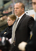 Greg Cronin (NU - Head Coach) - The Boston University Terriers defeated the Northeastern University Huskies 5-4 on Friday, March 5, 2010, in their senior night game at Agganis Arena in Boston, Massachusetts.