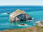 One of many large rocks dotting the coast of California on Highway 1 at Big Sur