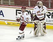 Kelli Stack (BC - 16), Molly Schaus (BC - 30) - The Boston College Eagles defeated the Boston University Terriers 2-1 in the opening round of the Beanpot on Tuesday, February 8, 2011, at Conte Forum in Chestnut Hill, Massachusetts.
