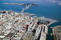 aerial AT&T baseball park and CalTrain station in San Francisco with Bay Bridge and South Beach Marina