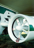 FUJI BLIMP: USE OF HELIUM<br /> Detail of propulsion motor used on blimp.