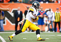 DeAngelo Williams #34 of the Pittsburgh Steelers carries the ball in the first quarter against the Cincinnati Bengals during the game at Paul Brown Stadium on December 12, 2015 in Cincinnati, Ohio. (Photo by Jared Wickerham/DKPittsburghSports)